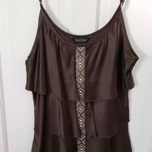 WHBM Silk Tiered Cami w/Embellished Front Placket